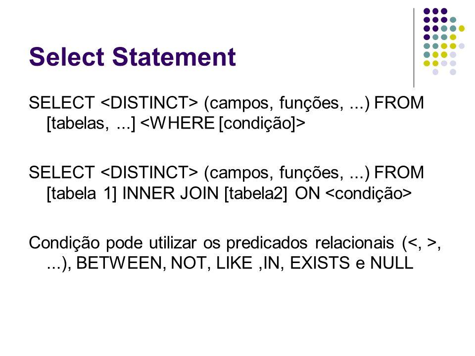 Select Statement SELECT <DISTINCT> (campos, funções, ...) FROM [tabelas, ...] <WHERE [condição]>